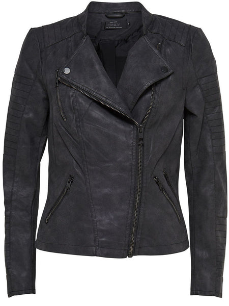 AVA BIKER FAUX LEATHER LOOK JACKET