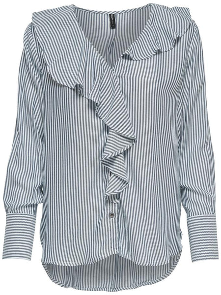 MARGO L/S FRILLS STRIPE SHIRT DENIM