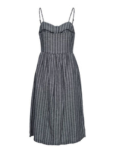 LULU COTTON STRIPE BUTTON MIDI DRESS - NAVY