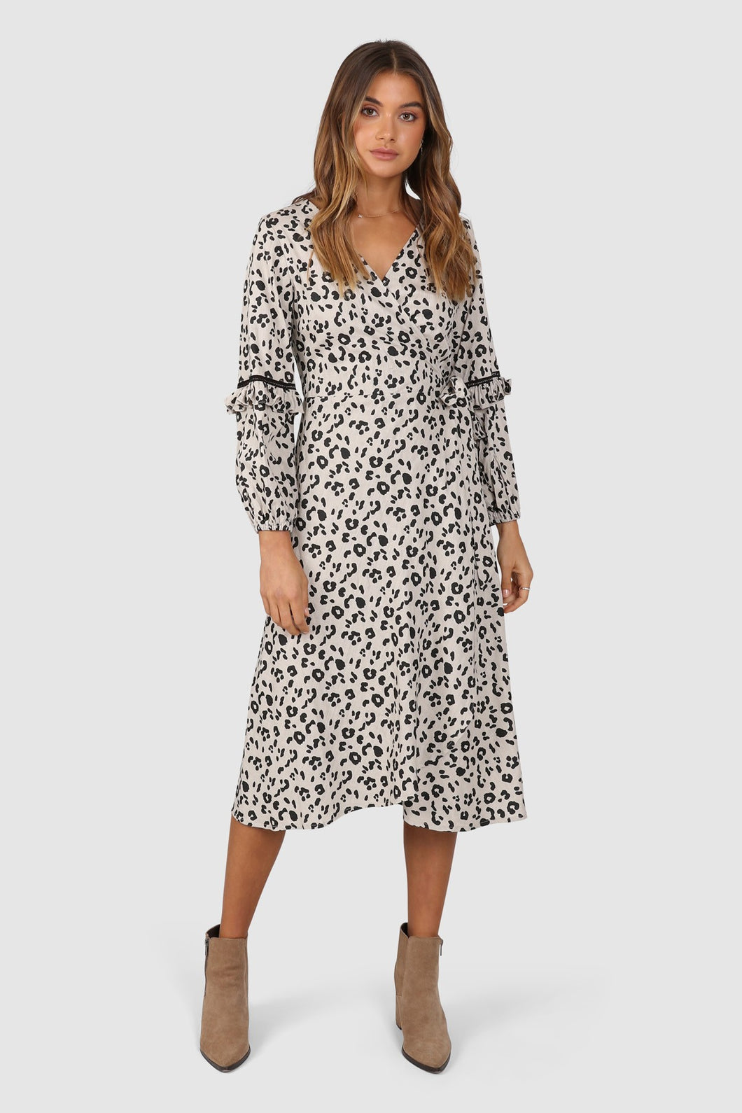 LARRSON WRAP DRESS - LEOPARD