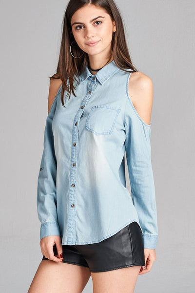 3/4 ROLL UP SLEEVE OPEN SHOULDER CHAMBRAY SHIRT