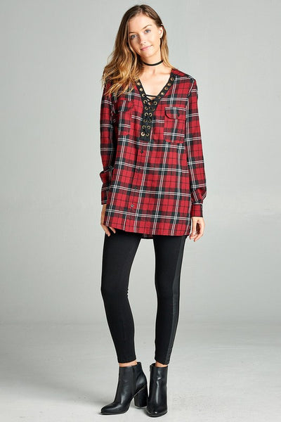 Plaid Print Top with Lace Up Detail