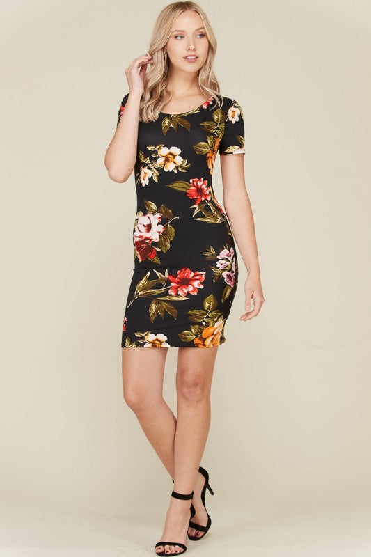 BRUSHED DTY FLORAL SHORT SLEEVE MIDI DRESS
