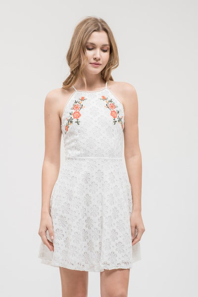 SLEEVELESS LACE DRESS W/ FRONT EMBROIDERY