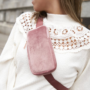 PHONE SLING CROSS BODY - VIXEN ROSE (velour finish)
