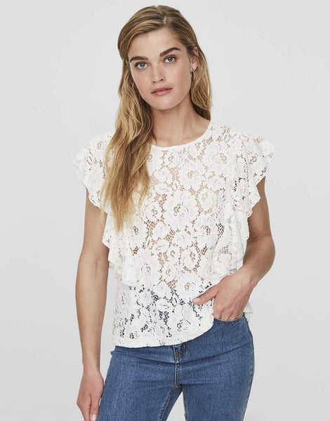 LACE SHORT SLEEVE FRILL TOP