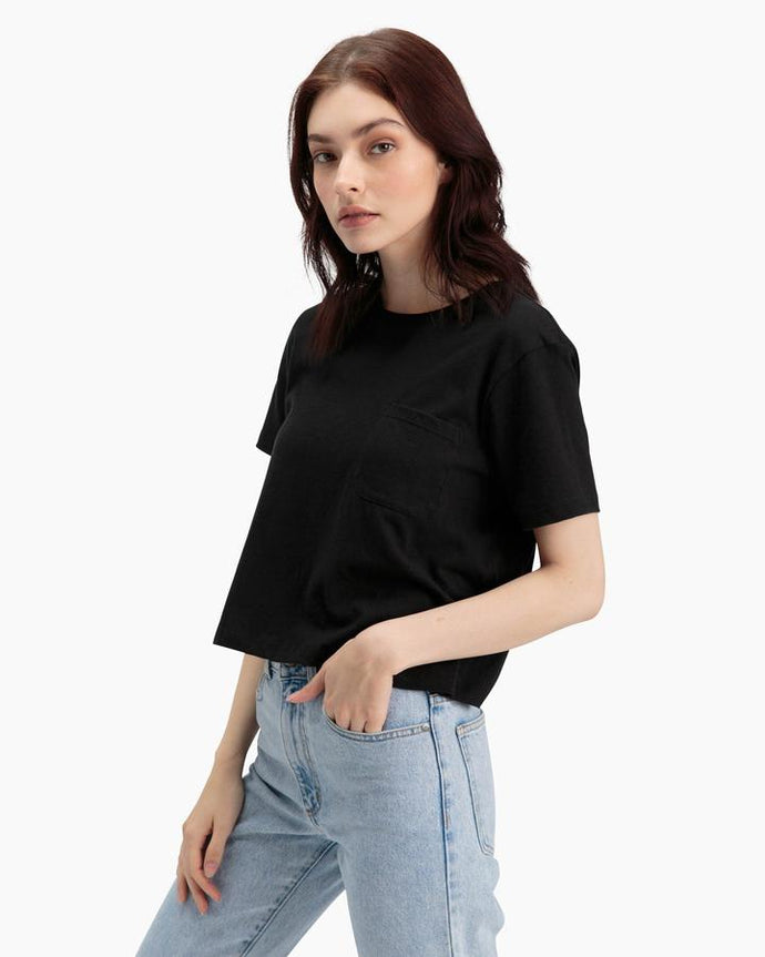 ORGANIC COTTON BOXY CROP TEE - BLACK