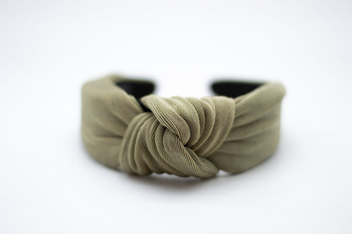 TEXTURED KNIT HEADBAND / OLIVE