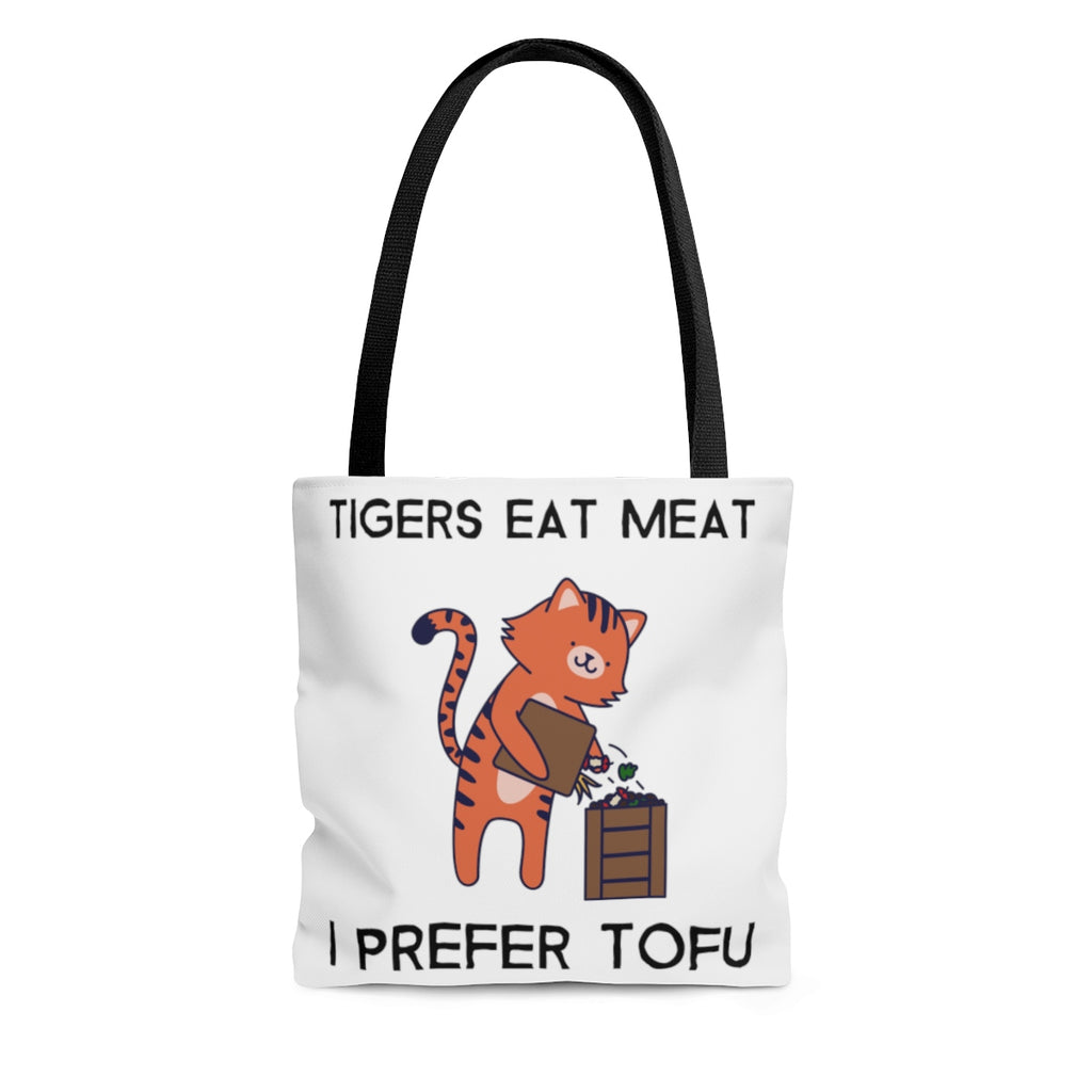 """TIGERS EAT MEAT I PREFER TOFU"" Tote"