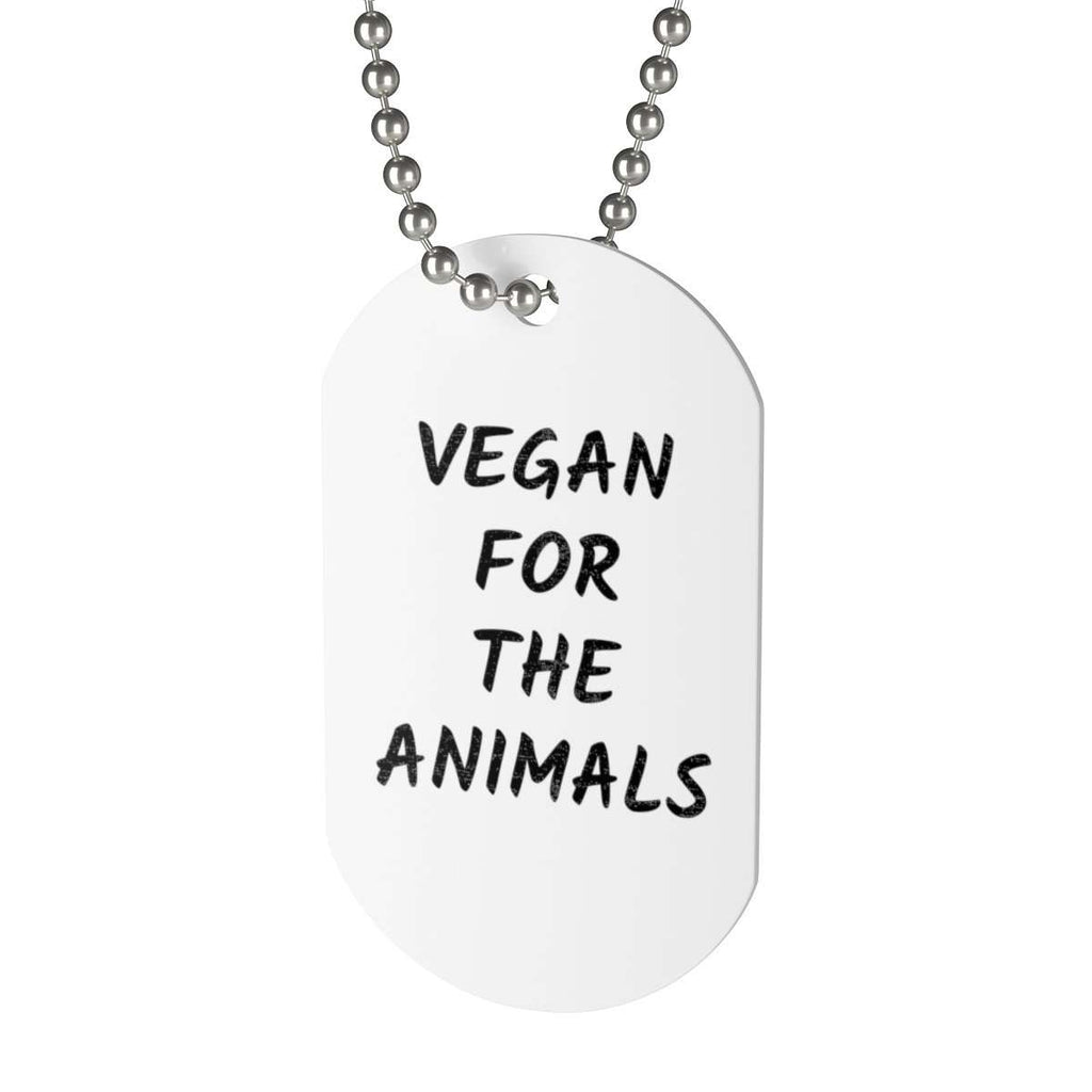 """VEGAN FOR THE ANIMALS"" Tag Necklace"