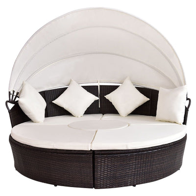 Outdoor Round Daybed Retractable Canopy - mhyplace