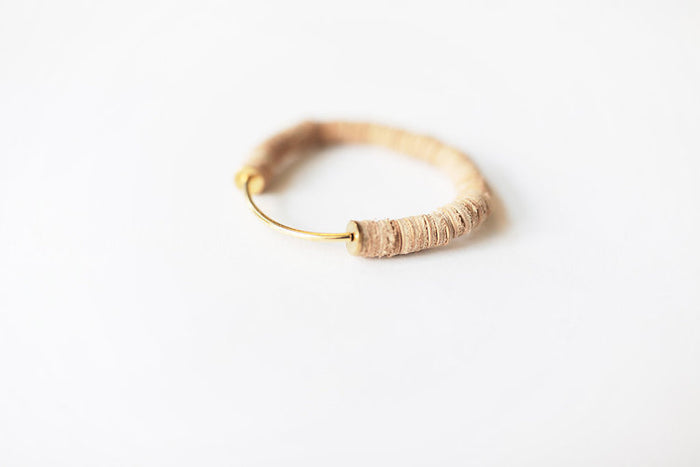 Cream Leather Arc Bracelet