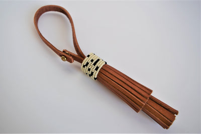 Beaded Leather Tassel Fob