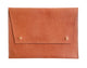 Tan Oversized Leather Portfolio Clutch