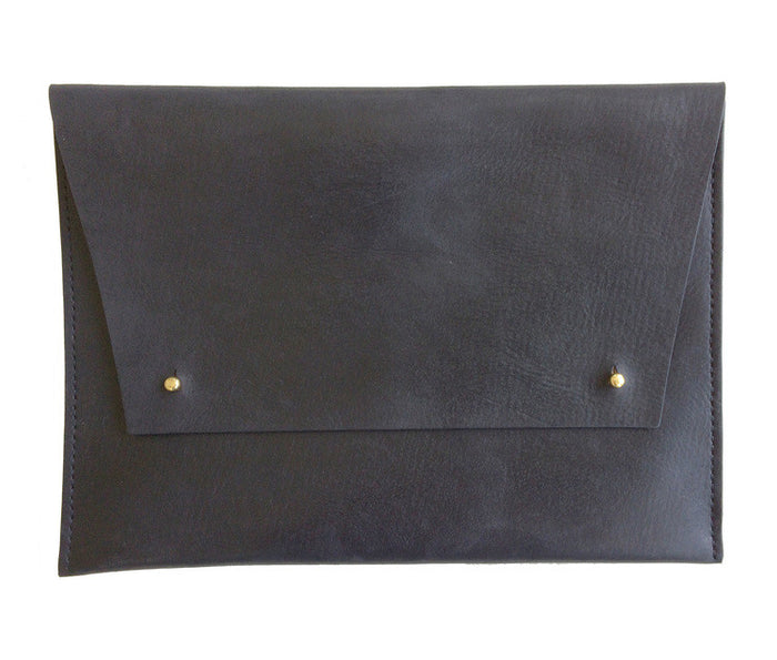Black Oversized Leather Portfolio Clutch