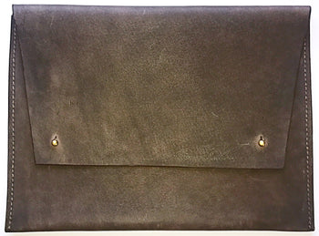 Brown Oversized Leather Portfolio Clutch