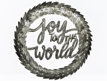 Joy Wreathe Metal Sign