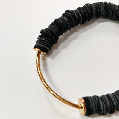 Black Leather Arc Bracelet