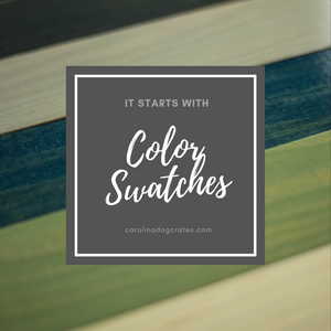 Custom furniture begins with free color swatches. See your color selections in your home before you order your custom dog kennel furniture.