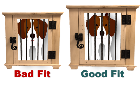 Example of a good fitting dog crate and a bad fitting dog crate infographic