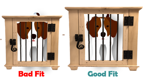 this is a good fitting dog crate and a bad fitting kennel