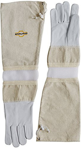 NATURAL APIARY® BEEKEEPING GLOVES - GOATSKIN - ADJUSTABLE - VENTED SLEEVES & STING PROOF CUFFS - EXTRA LARGE - Durable Leather - Extra Long Thick Sleeves - Money Back Guarantee