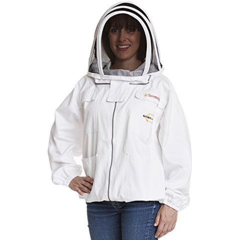 NATURAL APIARY - MAX PROTECT Beekeeping Jacket - Clear View Fencing Veil - Maximum Protection - Professional & Beginner Beekeepers - LARGE