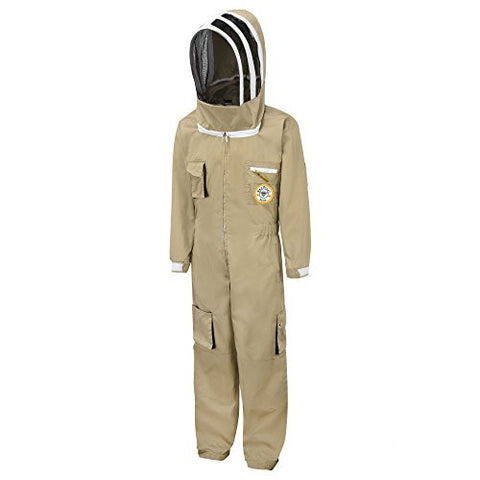 Bee Proof Suits Alize Professional Bee Keeper's Suit with Astronaut Hood Khaki Large