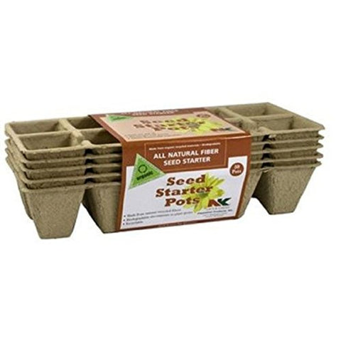 Plantation FS110 Biodegradable,Uniquely durable,Seed Starter Pots (10 Pot, 5 Strips Per Pack, 50 Total)Measures 1.75 inch width by 1.75 inch height