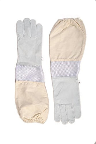 Forest Beekeeping Premium Goatskin Leather Beekeeper's Glove with white vent Long Canvas Sleeve with elastic cuff (L)