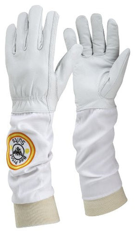 Bee Proof Suits Bee Keeper''s Gloves Soft White Leather with Cotton Gauntlet Medium'