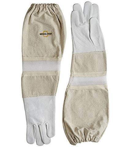 NATURAL APIARY - Goatskin - Beekeeping Gloves - Ventilated Sleeves - Sting Proof Cuffs - Extra Long Extra Long Twill Elasticated Gauntlets - X X Large