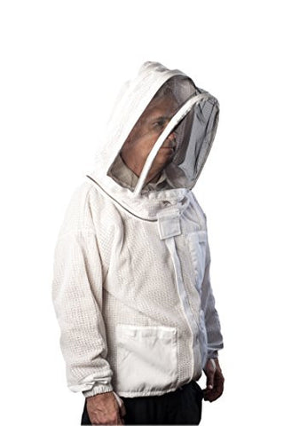 Forest Beekeeping Jacket - Ventilated Jacket with Fencing Veil Hood, Premium Beekeeping Jacket YKK Brass Zippers, Professional, Commercial, and Beginner Beekeeper Jacket (X-LARGE)