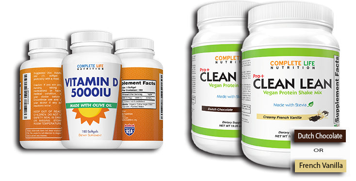 HEALTH COMBO Vitamin D3 + Our Clean Lean Shake - Complete Life Nutrition - High Quality Doctor Formulated Vitamins and Supplements
