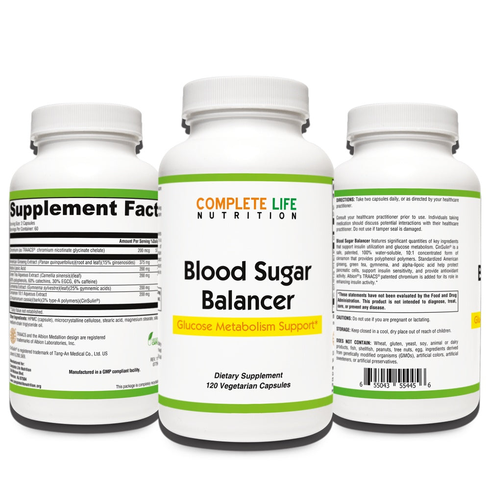 Blood Sugar Balancer Metabolism and Sugar Support Supplement - Complete Life Nutrition - High Quality Doctor Formulated Vitamins and Supplements