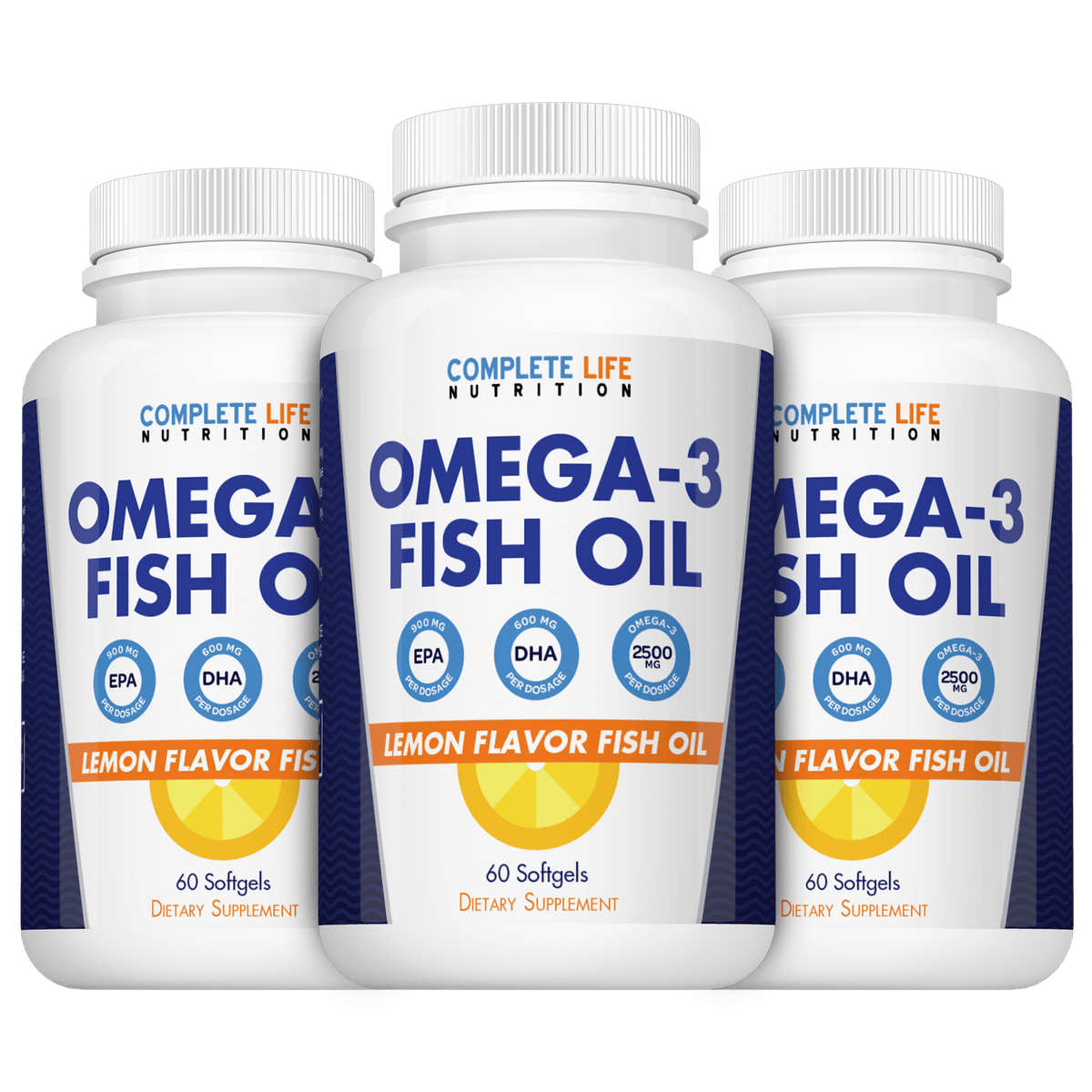 Omega 3 Fish Oil (3 Bottles + Bonus + FREE SHIPPING) - Complete Life Nutrition - High Quality Doctor Formulated Vitamins and Supplements