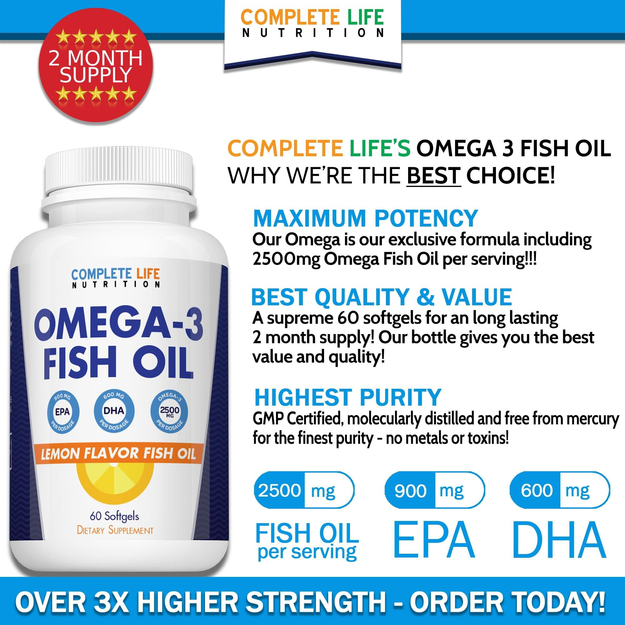 Omega 3 Fish Oil - Top Rated Fish Oil - Complete Life Nutrition - High Quality Doctor Formulated Vitamins and Supplements