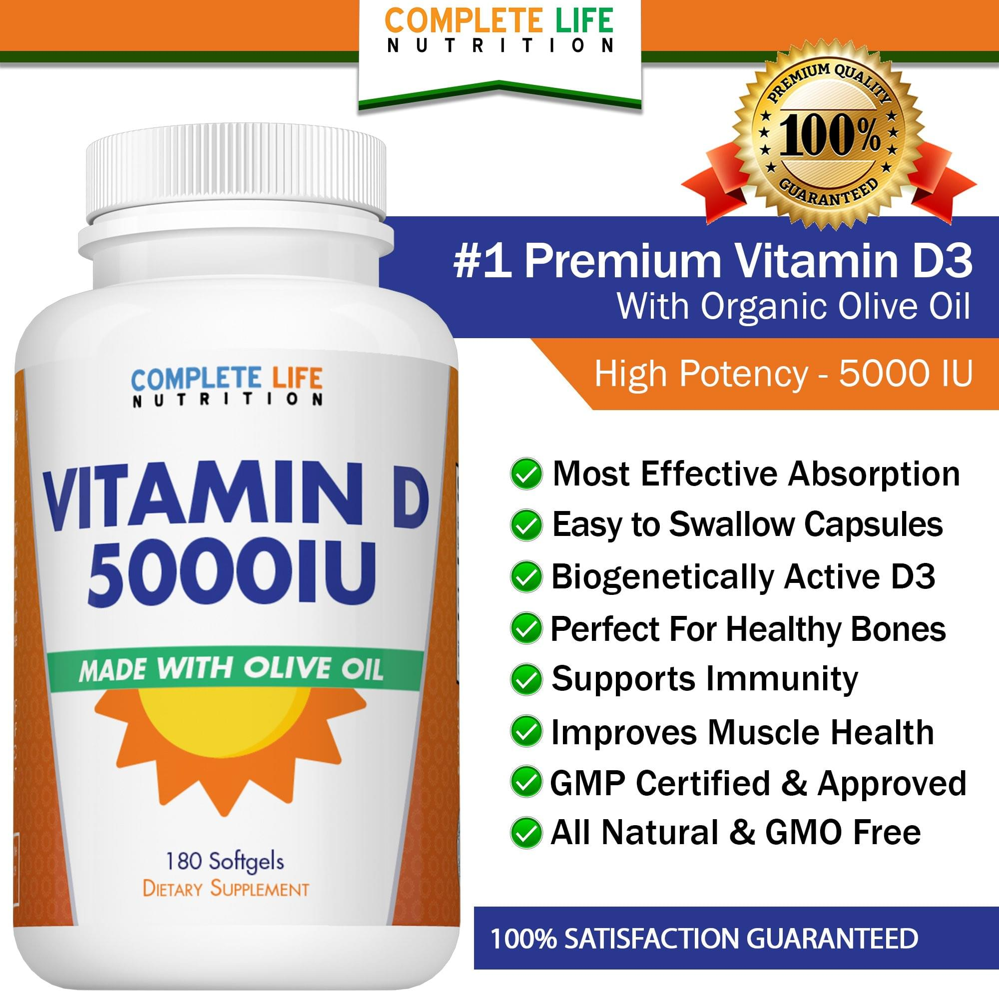 Organic Vitamin D3 5000 IU Supplement - High Absorption - Complete Life Nutrition - High Quality Doctor Formulated Vitamins and Supplements