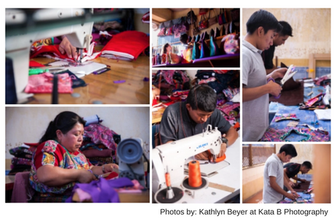 artisans working on handmade products, fair trade, upcycled, slow fashion, fashion revolution, guatemalan treasures, cosmetic bags and handbags