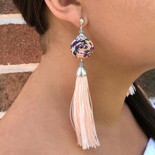 Light pink earrings, Guatemalan fabric and tassel, handmade, unique, one of a kind, supporting communities, social enterprise, fashion jewelry, empowering women