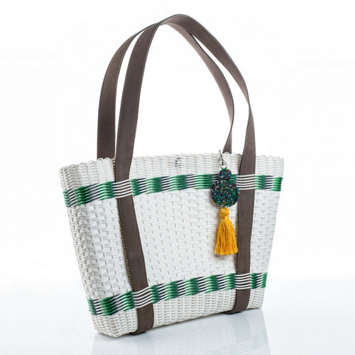 Eco-friendly and vegan-friendly white, green and blue recycled plastic handbag with a yellow tassel, handmade by artisans in Guatemala perfect for a beach bag or everyday wear. Ecofashion, green fashion, sustainable fashion