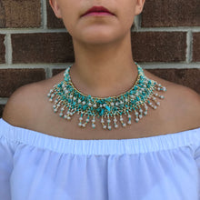 Guatemalan handmade beaded jewelry, made by artisans, fair trade, empowering women, made by indigenous women, one of a kind necklace, fashion jewelry, white, gold and turquoise beads.