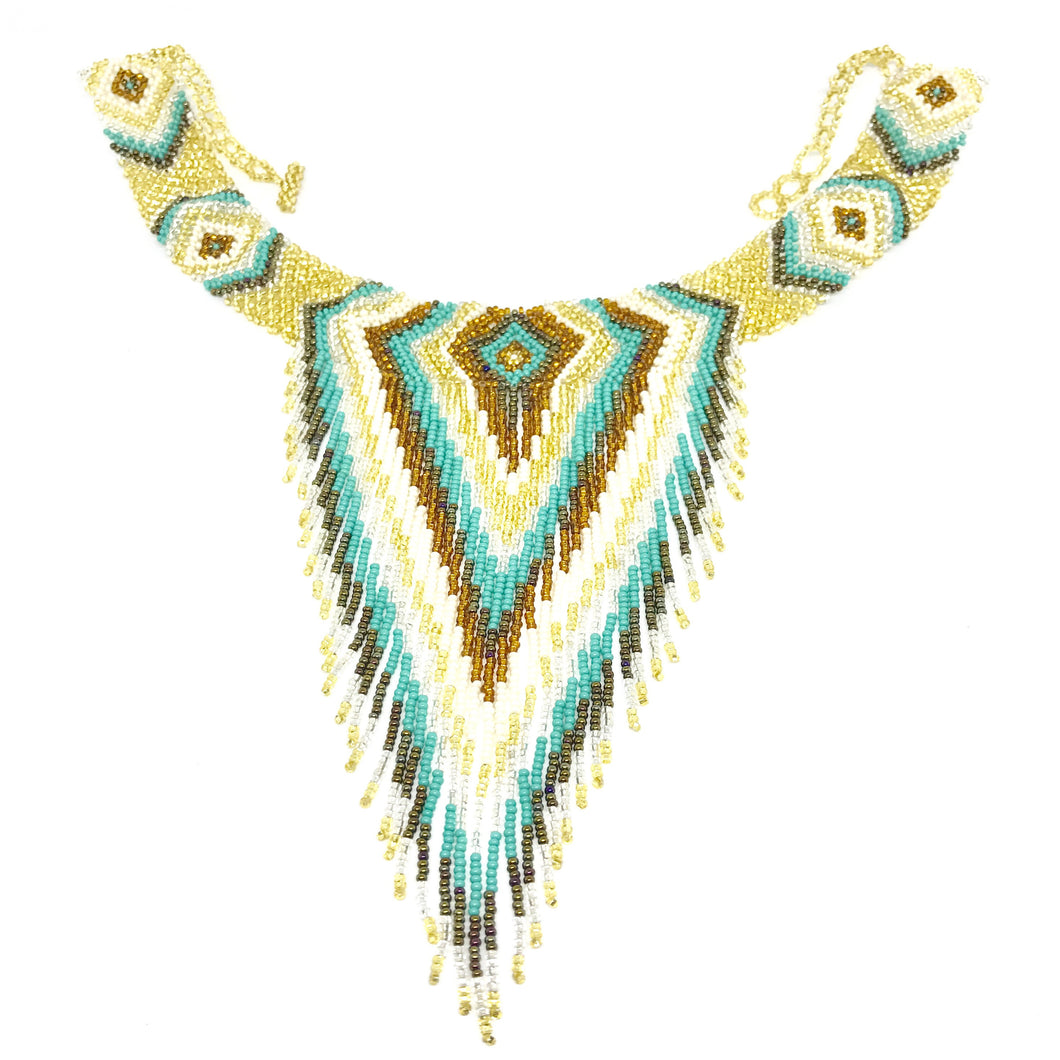 Guatemalan handmade beaded jewelry, made by artisans, fair trade, empowering women, made by indigenous women, one of a kind necklace, fashion jewelry, white, gold, brown and turquoise beads.