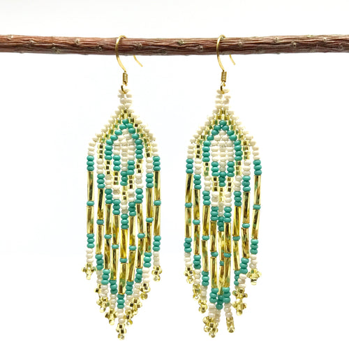 Guatemalan handmade beaded jewelry, made by artisans, fair trade, empowering women, made by indigenous women, one of a kind earrings, fashion jewelry, white, gold and turquoise beads.