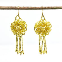 Guatemalan handmade beaded jewelry, made by artisans, fair trade, empowering women, made by indigenous women, one of a kind earrings with tassel and rose, fashion jewelry,  gold beads.