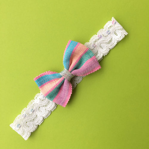 Girl headband handmade with lace and Guatemalan textile bow