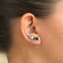 Fine jewelry set in sterling silver with handcrafted jadeite jade from Guatemala, artisan made, fair trade, ethically sourced. Silver climber earrings with  jadeite jade