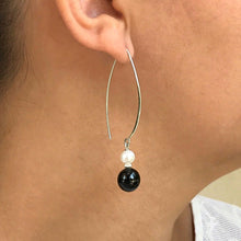 Fun dangling earrings with handcrafted black jadeite jade, white pearls and sterling silver