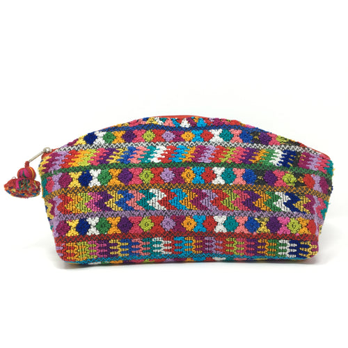 One-of-a-kind handmade cosmetic bag with up-cycled huipil red