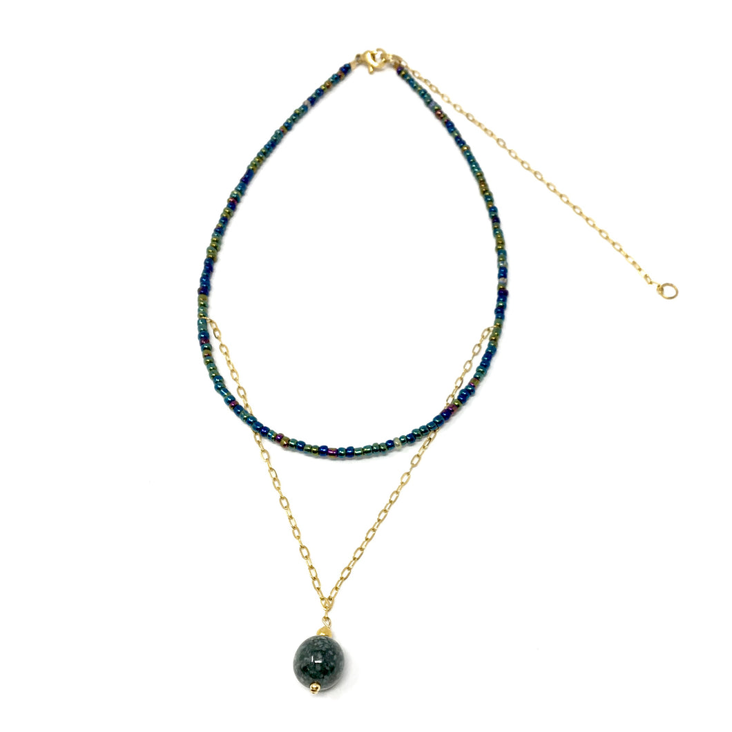 Unique choker with glass beads, gold stainless steel and handcrafted jadeite jade bead